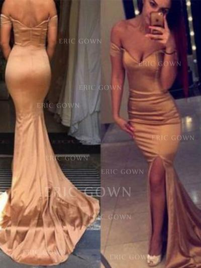 Trumpet/Mermaid Off-the-Shoulder Court Train Prom Dresses With Split Front (018218100)