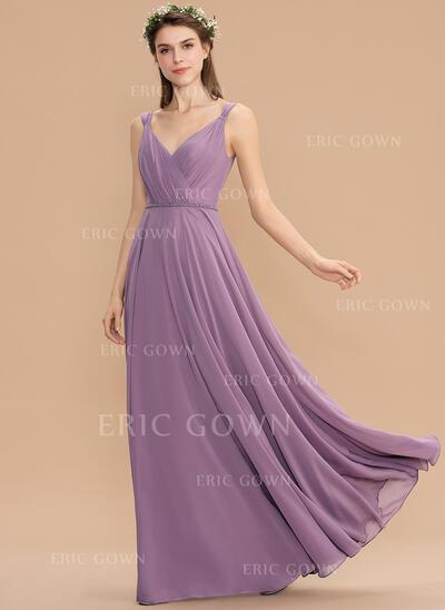 A-Line V-neck Floor-Length Chiffon Bridesmaid Dress With Ruffle (007176747)