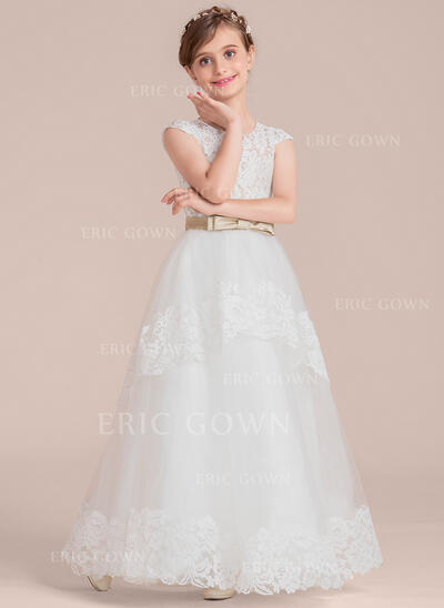 Ball Gown Floor-length Flower Girl Dress - Satin/Tulle/Lace Sleeveless Scoop Neck With Sash/Bow(s) (010136609)