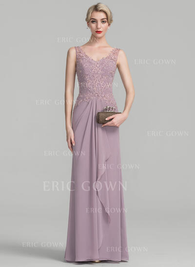A-Line/Princess V-neck Floor-Length Chiffon Lace Mother of the Bride Dress With Beading Sequins Cascading Ruffles (008108042)