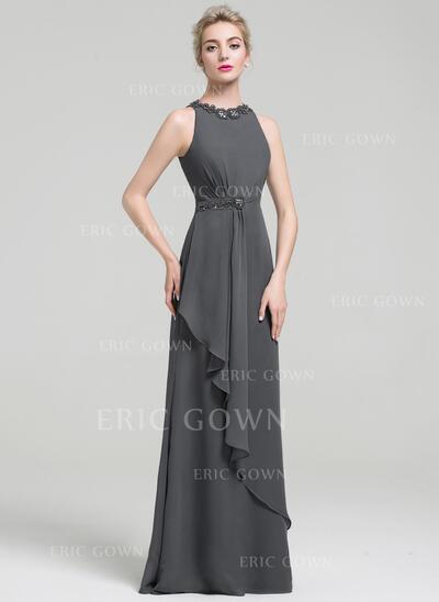 Empire Scoop Neck Floor-Length Evening Dress With Beading Sequins Cascading Ruffles (017093480)