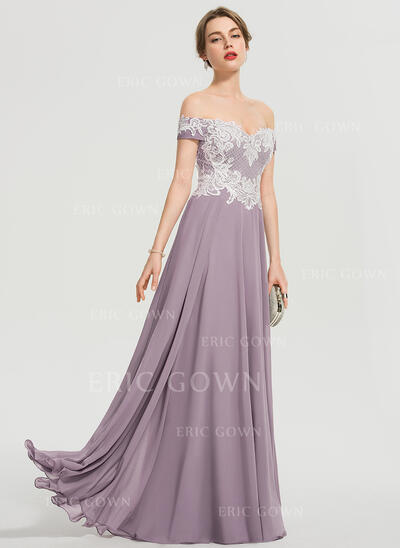 A-Line Off-the-Shoulder Floor-Length Chiffon Prom Dresses With Sequins Split Front (018192342)