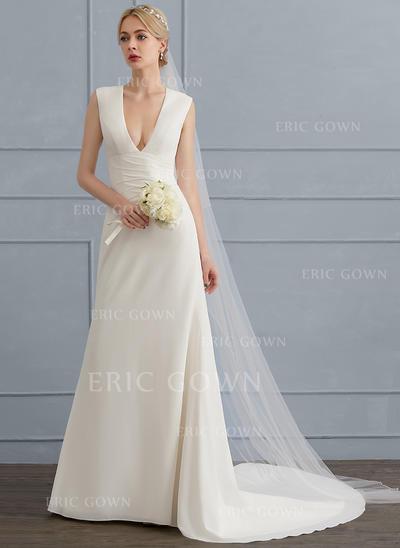 Sheath/Column V-neck Court Train Chiffon Wedding Dress With Ruffle (002124270)