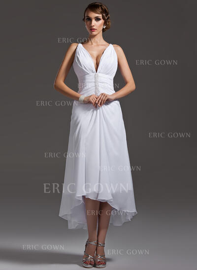 A-Line V-neck Asymmetrical Chiffon Wedding Dress With Ruffle Beading (002004593)