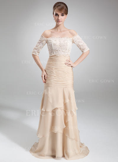 Trumpet/Mermaid Chiffon Sleeveless Strapless Court Train Zipper Up Mother of the Bride Dresses (008006299)