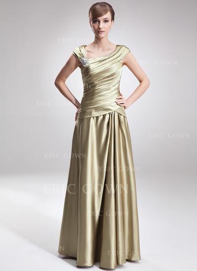 A-Line/Princess Charmeuse Sleeveless V-neck Floor-Length Zipper Up Mother of the Bride Dresses (008006308)
