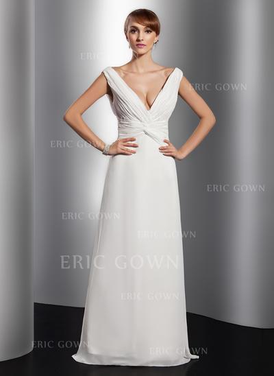 A-Line/Princess V-neck Floor-Length Evening Dresses With Ruffle (017014811)