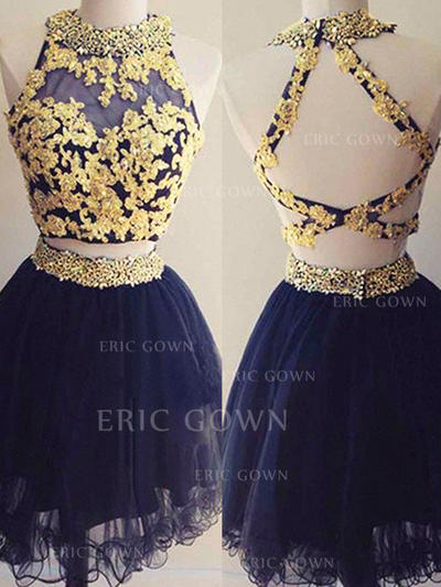 A-Line/Princess Scoop Neck Short/Mini Homecoming Dresses With Beading Appliques Lace (022216234)