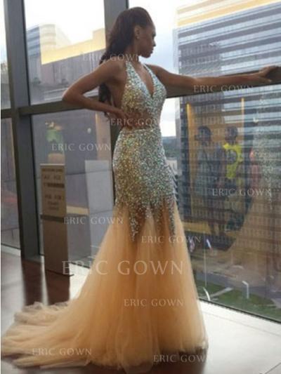 Trumpet/Mermaid Sweep Train Prom Dresses V-neck Tulle Sleeveless (018144677)
