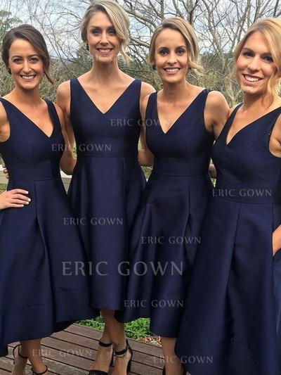 A-Line/Princess Satin Bridesmaid Dresses Ruffle V-neck Sleeveless Asymmetrical (007211577)