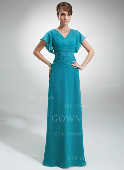 A-Line/Princess Chiffon Short Sleeves V-neck Floor-Length Zipper Up Mother of the Bride Dresses (008006033)