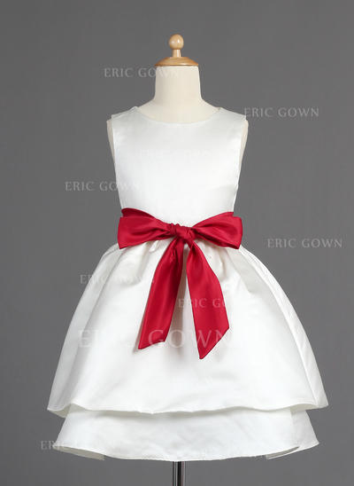 Flattering Scoop Neck A-Line/Princess Flower Girl Dresses Tea-length Satin Sleeveless (010014599)