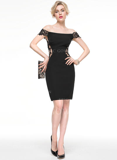 Sheath/Column Off-the-Shoulder Knee-Length Jersey Cocktail Dress (016081212)