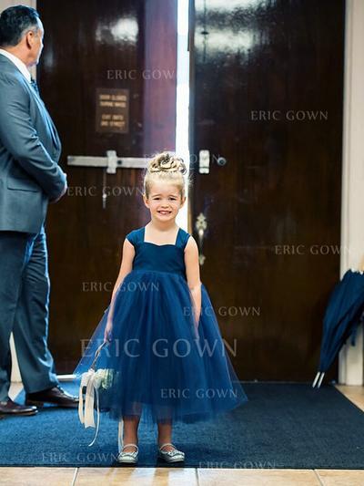A-Line/Princess Sweetheart Tea-length With Bow(s) Satin/Tulle Flower Girl Dresses (010145258)