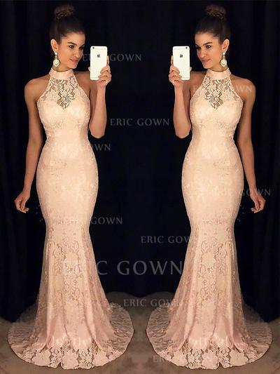 Trumpet/Mermaid High Neck Sweep Train Lace Evening Dresses With Ruffle (017217172)