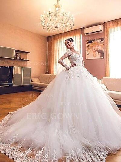 Elegant V-neck Ball-Gown Wedding Dresses Court Train Tulle Long Sleeves (002210833)