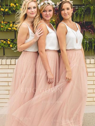 A-Line/Princess Chiffon Tulle Bridesmaid Dresses V-neck Sleeveless Floor-Length (007144965)