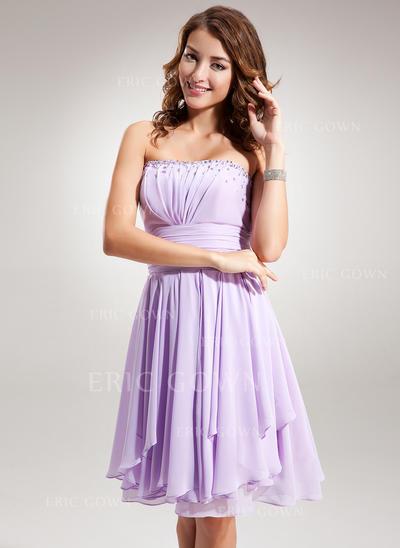 Empire Strapless Knee-Length Chiffon Homecoming Dresses With Ruffle Beading (022212881)