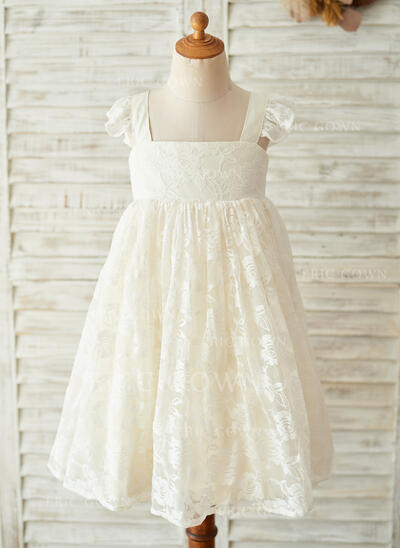 A-Line/Princess Knee-length Flower Girl Dress - Satin/Lace Sleeveless Square Neckline With Bow(s) (010153237)