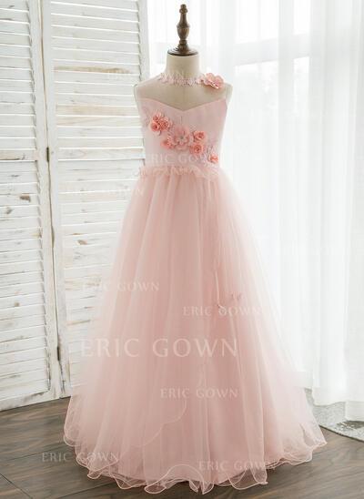 A-Line/Princess Floor-length Flower Girl Dress - Organza/Tulle Sleeveless Scoop Neck With Flower(s)/Rhinestone (010164754)