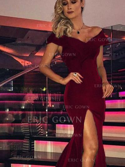 Gorgeous Jersey Evening Dresses Trumpet/Mermaid Sweep Train Off-the-Shoulder Sleeveless (017213624)