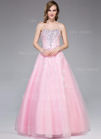 Ball-Gown Sweetheart Floor-Length Prom Dresses With Beading (018109311)