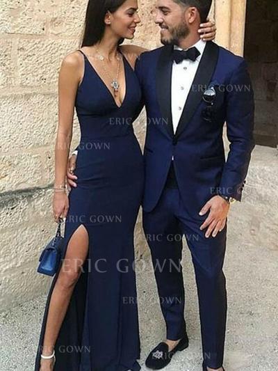 Sheath/Column V-neck Floor-Length Prom Dresses With Split Front (018218343)