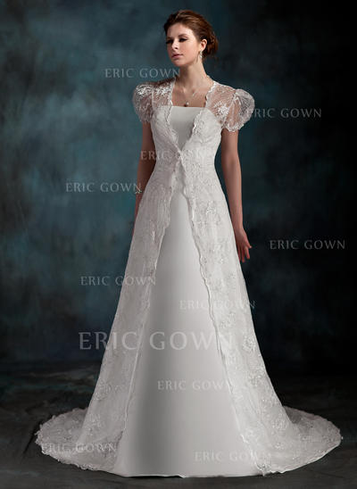 A-Line/Princess Sweetheart Court Train Wedding Dresses (002001254)