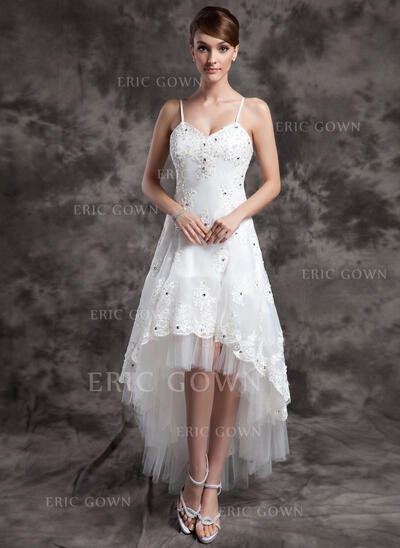 A-Line V-neck Asymmetrical Organza Tulle Wedding Dress With Beading Appliques Lace (002024067)