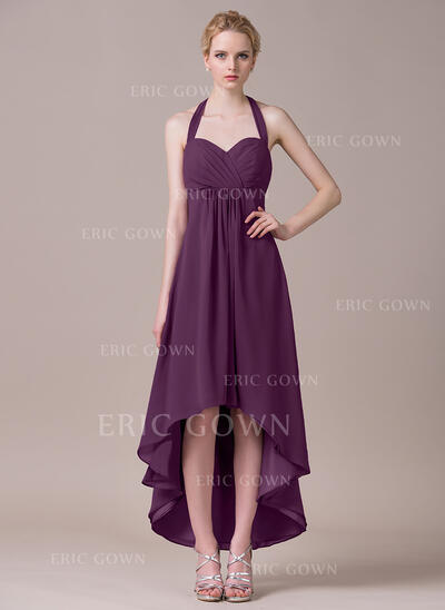 A-Line Halter Asymmetrical Chiffon Bridesmaid Dress (007056853)