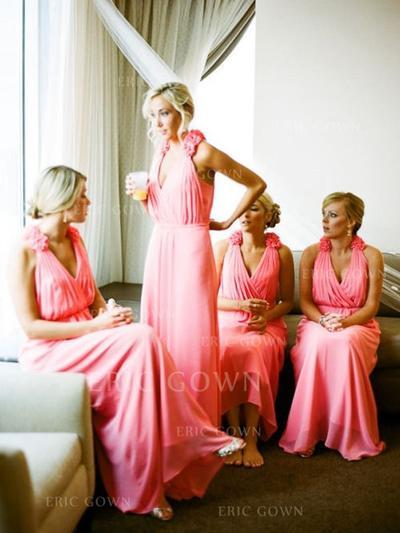 A-Line/Princess Chiffon Bridesmaid Dresses Ruffle Flower(s) Halter Sleeveless Floor-Length (007144967)