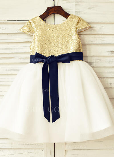 A-Line/Princess Knee-length Flower Girl Dress - Tulle/Sequined Sleeveless Scoop Neck With Sash/Sequins (010105775)