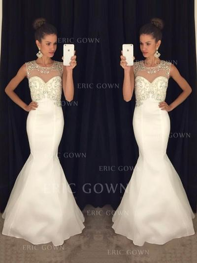 Trumpet/Mermaid Scoop Neck Sweep Train Evening Dresses With Beading (017216523)