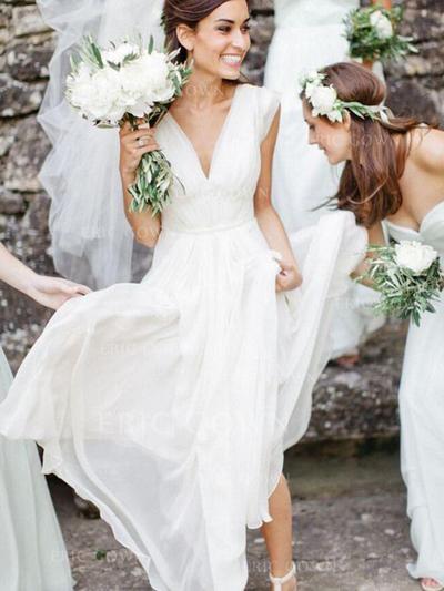 A-Line/Princess V-neck Floor-Length Wedding Dresses (002217903)