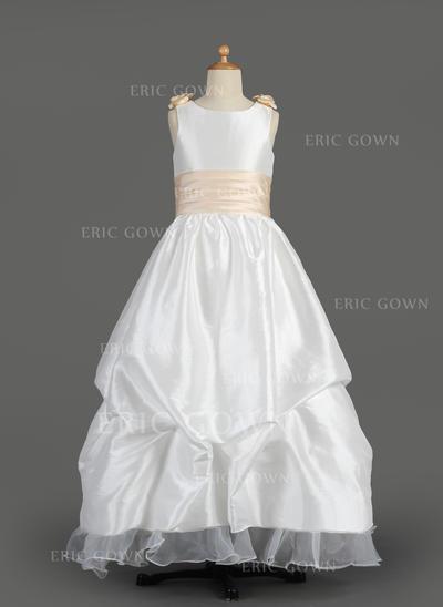Sexy Scoop Neck A-Line/Princess Flower Girl Dresses Floor-length Taffeta/Organza Sleeveless (010014607)