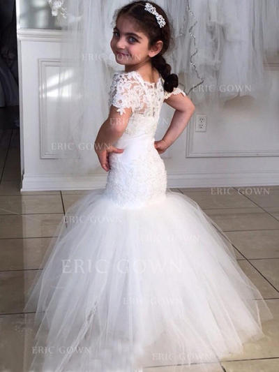 Sexy Scoop Neck Trumpet/Mermaid Flower Girl Dresses Floor-length Tulle/Lace Short Sleeves (010145247)