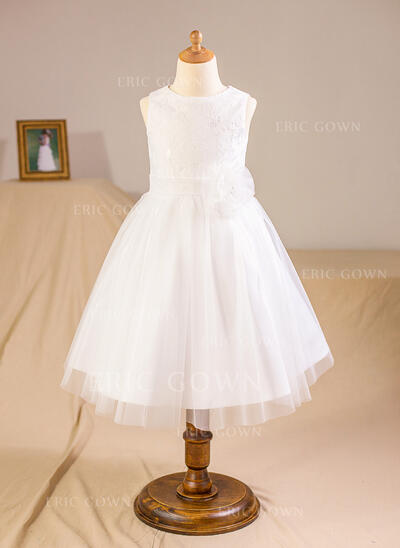 A-Line/Princess Knee-length Flower Girl Dress - Tulle/Lace Sleeveless Scoop Neck With Flower(s)/Bow(s) (010094153)