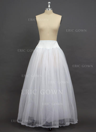 Petticoats Floor-length Tulle Netting/Spandex A-Line Slip 2 Tiers Petticoats (037190757)