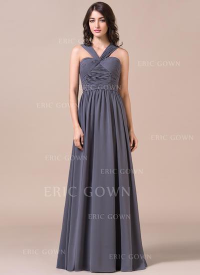 A-Line/Princess Chiffon Bridesmaid Dresses Ruffle V-neck Sleeveless Floor-Length (007057711)