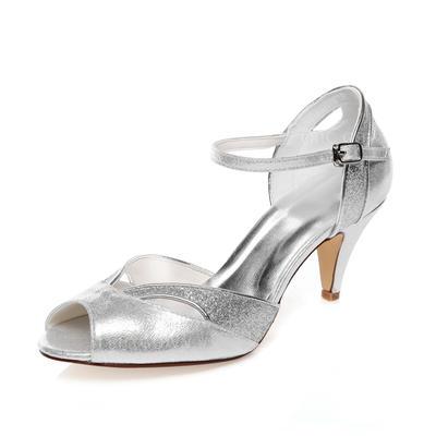 Women's Peep Toe Sandals Cone Heel Leatherette Wedding Shoes (047205694)