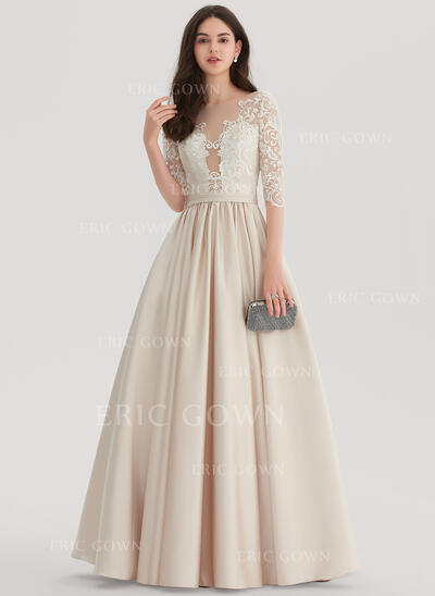 Ball-Gown Scoop Neck Floor-Length Satin Evening Dress (017153395)