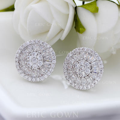 Earrings Copper/Zircon/Platinum Plated Pierced Ladies' Shining Wedding & Party Jewelry (011166680)