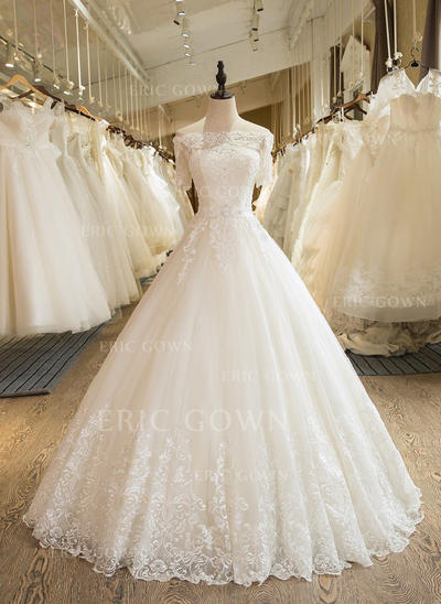 Ball-Gown Tulle Half Sleeves Off-The-Shoulder Floor-Length Wedding Dresses (002147940)