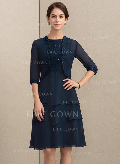 A-Line/Princess Scoop Neck Knee-Length Chiffon Lace Mother of the Bride Dress With Sequins (008164078)