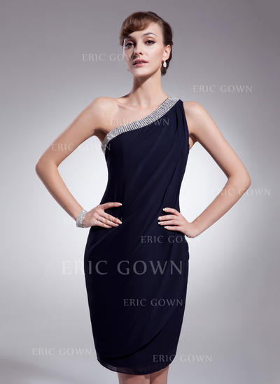 Sheath/Column One-Shoulder Knee-Length Chiffon Cocktail Dresses With Ruffle Beading (016021276)