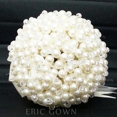 "Bridal Bouquets Round Wedding Satin/Crystal 9.06""(Approx.23cm) Wedding Flowers (123188849)"