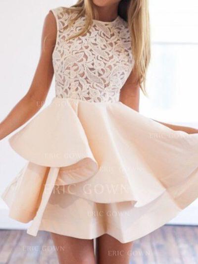 A-Line/Princess Scoop Neck Short/Mini Cocktail Dresses With Appliques Lace (016218389)