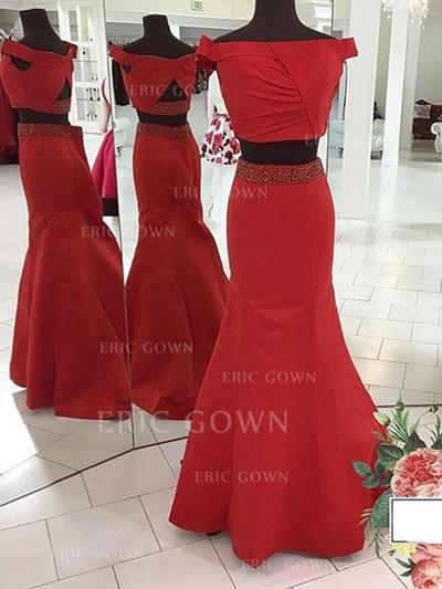 Trumpet/Mermaid Off-the-Shoulder Sweep Train Detachable Prom Dresses With Beading (018212203)
