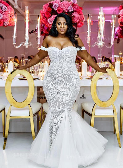Off-The-Shoulder Trumpet/Mermaid Wedding Dresses Tulle Lace Sleeveless Chapel Train (002213515)