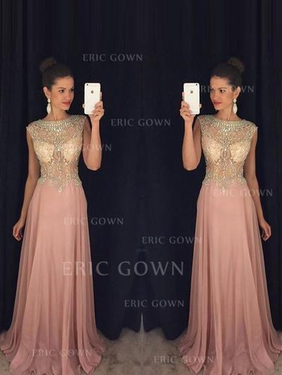 A-Line/Princess Scoop Neck Floor-Length Prom Dresses With Beading Appliques Lace (018212209)
